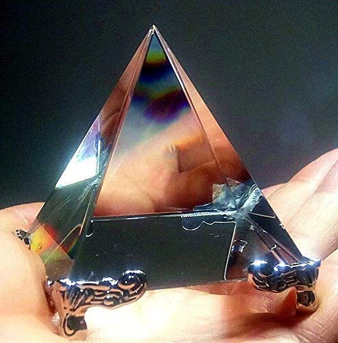 (Craft Decoration Indoor Energy Healing Transparent Crystal Glass Pyramid with Gold Stand Feng Shui Egypt Egyptian Figurines Miniatures Ornaments Craft 60mm (Size : 100mm))