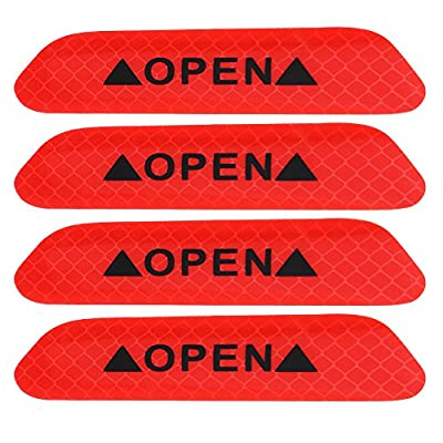 Cuque 4Pcs Self-Adhesive Car Door Reflective Warning Decal Safety Strip Stickers Sign Sticker Fluorescent Reflective Car Decals (Fluorescent red): Automotive