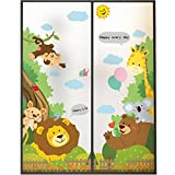 LANGUGU Animals Pattern Glass Non-Adhesive No Glue Static Decorative Privacy Window Films 22.8in By 35.4in (58 X 90cm) Children Kids Style Glass Sticker For Office Home Bedroom Glass Door Privacy (A)