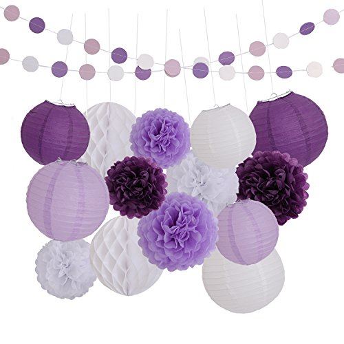 LyButty 16 Pcs Dark purple Lavender White Tissue Paper Pom Poms Flowers Tissue Paper Lanterns Honeycomb Balls Polka Dot Paper Garland Birthday Party Wedding Baby Shower Decorations