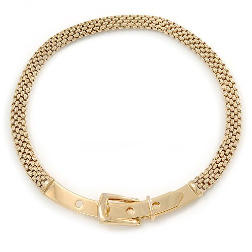 Stylish Gold Plated Belt Mesh Choker Necklace - 38cm L by Avalaya