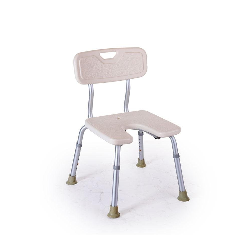 TSAR003 Designed For American - Thickening Aluminum Bathroom Shower Chair, U-Shaped Seat With Backrest, Height Adjustable, Especially For The Elderly / Pregnant Women, 300 Pounds Load