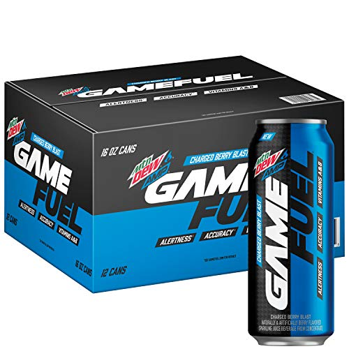(Mountain Dew AMP GAME FUEL, Charged Berry Blast, 16 fl oz. cans (12 Pack))