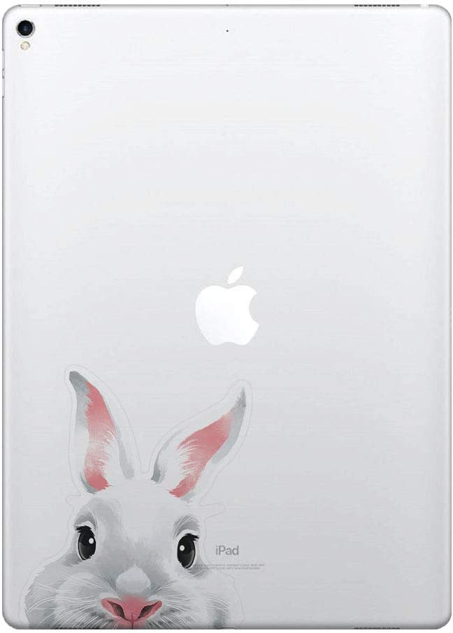 FINCIBO 5 x 5 inch White Rabbit Removable Vinyl Decal Stickers for iPad MacBook Laptop (Or Any Flat Surface)