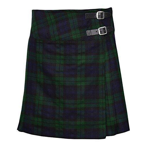Ladies Knee Length Kilt Skirt 20″ Length Tartan Pleated Kilts – Black Watch (40″)