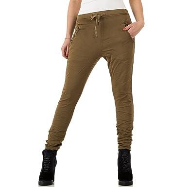 b2e7af3fb8d2 Schuhcity24 Damen Jeans Hose Jeanshose Damenjeans Low Boyfriend Jogger  Khaki 34