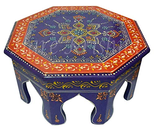Hare Krishna HNC00468 Indian Footstool Wooden Furniture Wooden Side Table 12 x 12 x 6 ()