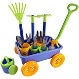 Garden Wagon & Tools Toy Set for Kids with 8 Gardening Tools, 4 Pots, Water Pail and Spray - Great for Beach & Sand Too!