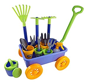Garden wagon tools toy set for kids with 8 for Gardening tools for 6 year old