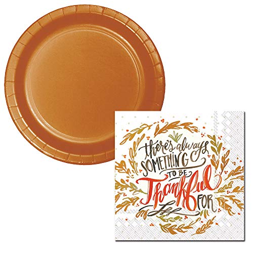 Fall Celebrations Dessert Plate & Napkin, Serves 20 (Thankful) -