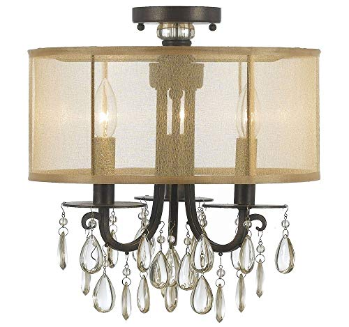 Crystorama 5623-EB_CEILING Crystal Accents Three Light Semi-Flush from Hampton collection in Bronze/Darkfinish,
