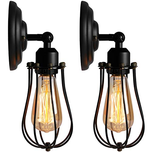 LEDMO Wire Cage Wall Sconces - Wall Lamp Vintage Industrial Metal Wall Light Fixture Vintage Style Edison E26 Bulbs Included for Headboard Bedroom Farmhouse Garage Barn Door Porch UL Listed(2 Pack)