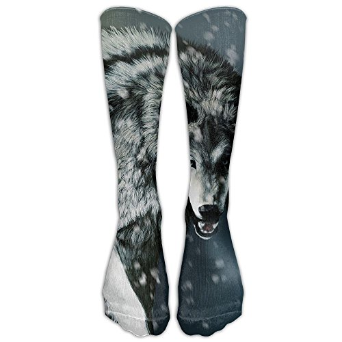 Long Dress Socks Over-the-Calf Tube Compression Socks Angry Wolf Snow Training Football Athletic Sports - Events Cycling Swimming And