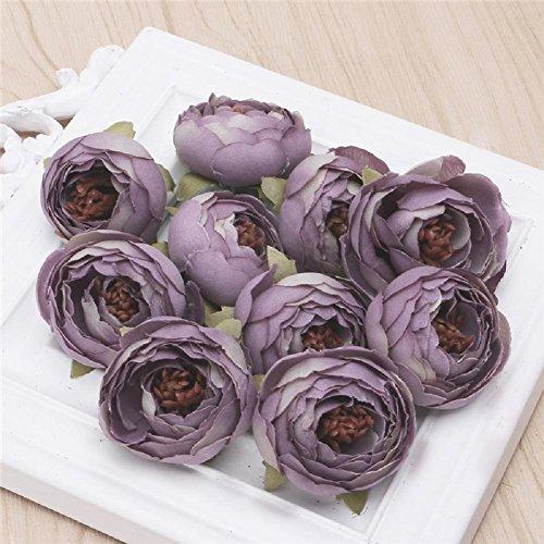 LIYUDL 10 pcs Artificial Camellia Flower Heads Bulks for Wedding Home Party Decor Craft DIY 16 Colors(Light Purple) ()