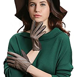 GSG Womens Fashion Elegant Italian Genuine Sheep Nappa Leather Gloves Cute Driving Gloves Lady Winter Brown
