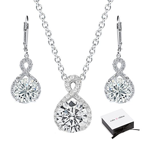 - Cate & Chloe Alessandra Jewelry Set, 18k White Gold Cubic Zirconia Pendant Necklace and Dangle Earrings, Bridal Jewelry Set, Round Cut Necklace Earring Set for Women, Silver Halo Jewelry Set