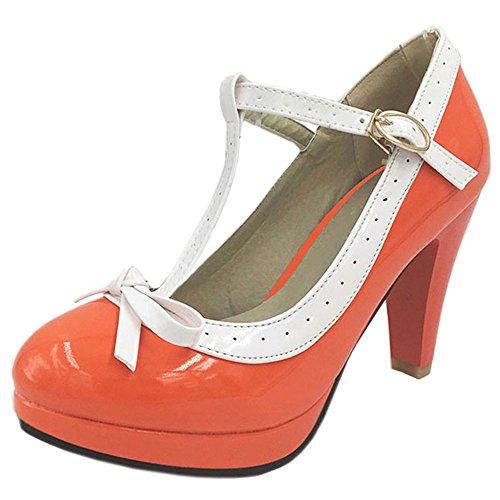 Cerrado Court Tacon Alto Zapatos Orange Mujer RAZAMAZA con Hebilla qSI5wPH