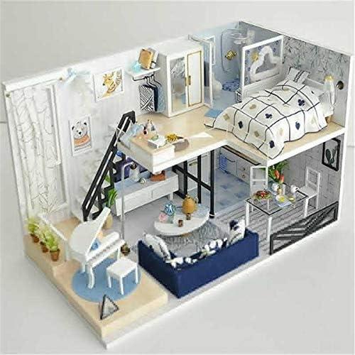 DIY ドールハウス 木製のおもちゃDIYドールハウスタイムライトシャドウ手組み立てモデルハウス誕生日ギフト 誕生日 クリスマス プレゼント (Color : Multi-colored, Size : One size)