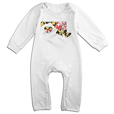 Toddler Baby Boy Girl Organic Coverall Maryland Love Heart-3 Toddler Jumpsuit