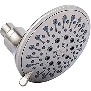 5 Inch High Flow 2.5 GPM Multifunction Showerhead Massage, Best Wall Mount Fixed Showerhead Massaging, Lightweight Adjustable Showerhead Replacement, Multi Function Massage Shower Head, Brushed Nickel