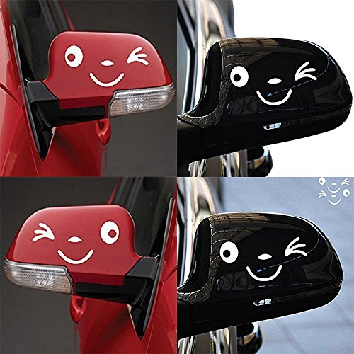Yonger 2 X Cute Smile Face 3D Decal Sticker for Auto Car Side Mirror L+R Rearview White by Yonger (Image #2)