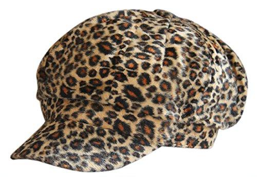 XueXian(TM) Womens Leopard Short Brim Winter Newsboy Hat Beret 10 Colors (Leopard 10)