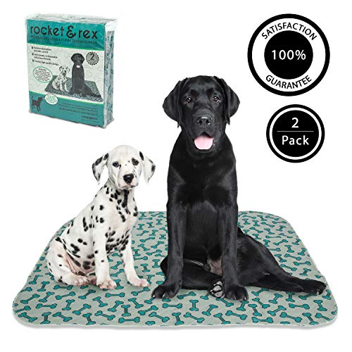 rocket & rex Washable, Puppy Pee Pads, Pet Training Waterproof Pads. 2-Pack (x-Large). Reusable, Leak-Proof and Absorbent. Whelping, Incontinence, Travel, Bed Wetting, Mattress Protector.