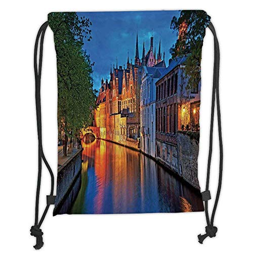 (Custom Printed Drawstring Backpacks Bags,Medieval Decor,Night Shot of Historic Middle Age Building along the River in Bruges Heritage Old Town Photo,Multi Soft Satin,5 Liter Capacity,Adjustable S)