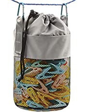 MinYee Mesh Clothespin Bag for Clothesline Outdoor, Multiple Hanging Methods Clothes Pin Bag with Drawstring Closure, Ventilation and Moisture Resistance, Large-Capacity Clothespin Storage Organizer with Hooks