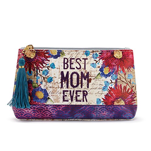 Best Mom Ever Vintage Floral Women's 8 x 5 Inch Vegan Leather Zipper Cosmetic Bag Pouch