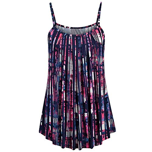 YOcheerful Women's Summer Tops Printed Sleeveless Vests Floral Elegant Tank Tops Sexy Loose Flowy Camisoles(Purple, 2XL)