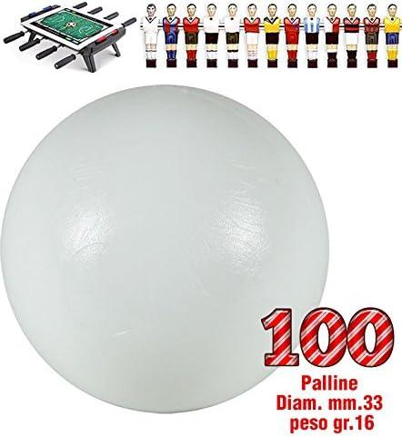 Futbolín Lote de 100 bolas universales HS, primera opción, color blanco, de peso para Futbolín mm.33 gr.16. Diario peso y controlados.: Amazon.es: Deportes y aire libre