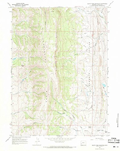 Wyoming Maps | 1967 South Fork Mountain, WY USGS Historical Topographic Map | Cartography Wall Art | 18in x 24in ()