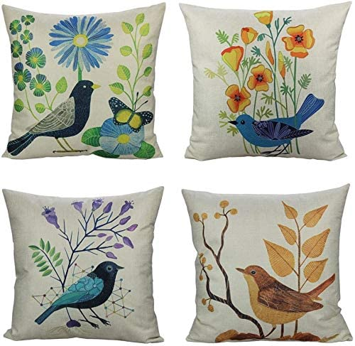 All Smiles Outdoor Patio Throw Pillow Covers Birds D cor Vintage Spring Decorative Cushion Cases Flower Pillowcase 18×18 Set of 4