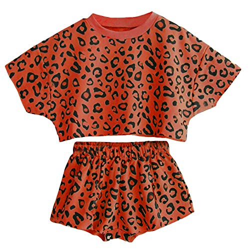 Toddler Baby Girls Leopard Print Summer Clothes Set T-Shirt and Short Pants 2pcs Outfits (Brown, 6T)