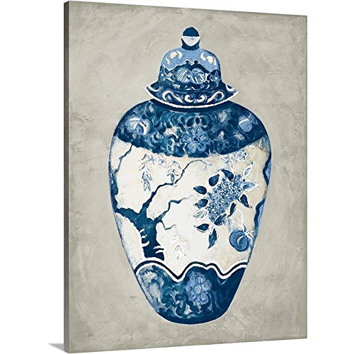GREATBIGCANVAS Gallery-Wrapped Canvas Entitled Imari Urn I Blue and White by Marilyn Hageman 30