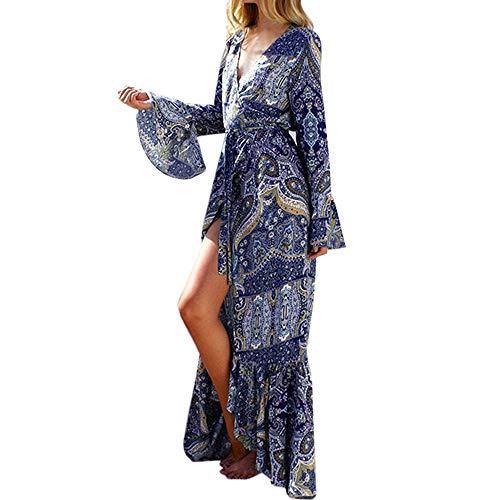 lenglangO Boho Long Sleeves V-Neck Boho Long Maxi Dress for Women Evening Party Sundress (Blue,L)