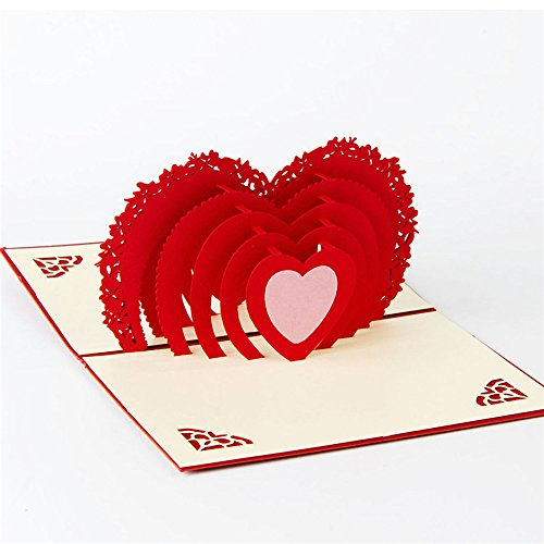 BB67 3D Pop Up Cards Valentine Lover Happy Birthday Anniversary Holiday Greeting Cards Gift for Friends Family Lover (Valentine Greeting For Best Friend)