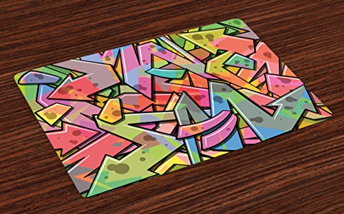 Ambesonne Colorful Place Mats Set of 4, Abstract Grunge Arrows Graffiti Inspired Spray Paint Style Figures Illustration, Washable Fabric Placemats for Dining Room Kitchen Table Decor, Multicolor
