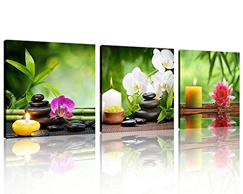 Life Giclee Canvas - TutuBeer 3 Panel Spa Still Life with Aromatic Candles and Zen Stones Modern Wall Decor Home Decoration Gallery Canvas Wrap Giclee Print & Ready to Hang Stretched and Framed Each Panel 12x12inch