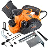 VonHaus 7.5 Amp Electric Wood Hand Planer Kit with 3-1/4'' Planing Width and Extra Set of Planer Replacement Wood Blades - Electric Door Planer