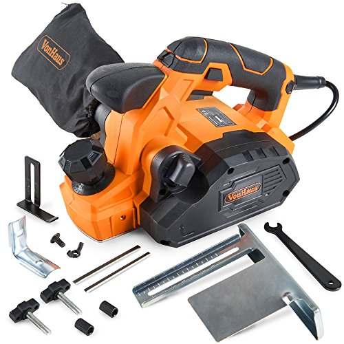 VonHaus 7.5 Amp Electric Wood Hand Planer Kit with 3-1/4'' Planing Width and Extra Set of Planer Replacement Wood Blades - Electric Door Planer by VonHaus