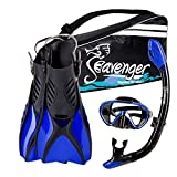 Seavenger Diving Snorkel Set - (Black Silicon/Blue) - L