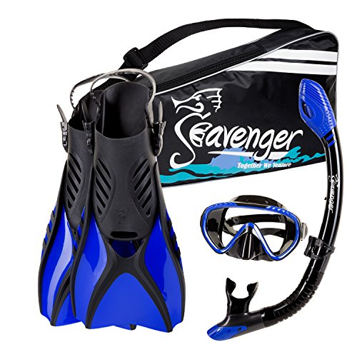 Seavenger Diving Snorkel Set - (Black Silicon/Blue) - S Dry Snorkel Black Silicone