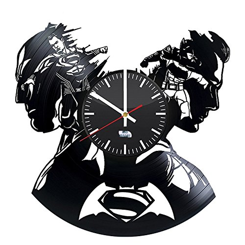[Superhero Symbols Design Vinyl Record Wall Clock - Get unique living room or nursery wall decor - Gift ideas for boys and girls - Unique Comics Fan] (Robin From Arkham City Costumes)