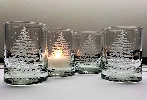 Engraved Candle Holder (Fir Tree and Floating Flakes Votive Holder Set of Four Engraved Glass Candle Holders Winter Decor Holiday Home Candles)