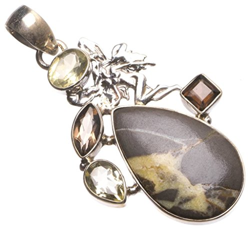 Natural Dragon Septarian,Smoky Quartz and Citrine Vintage 925 Sterling Silver Pendant 2.25