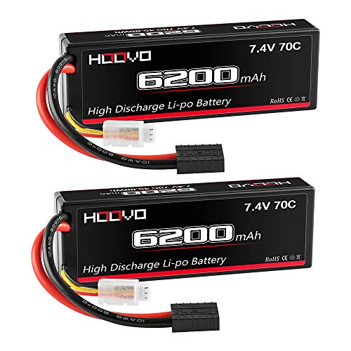 HOOVO 2S 7.4V 6200mAh 70C RC Lipo Battery Hard Case with TRX Traxxas Connector for RC Car RC Helicopter RC Truck RC Truggy Airplane Quadcopter UAV Drone FPV (2 Packs)