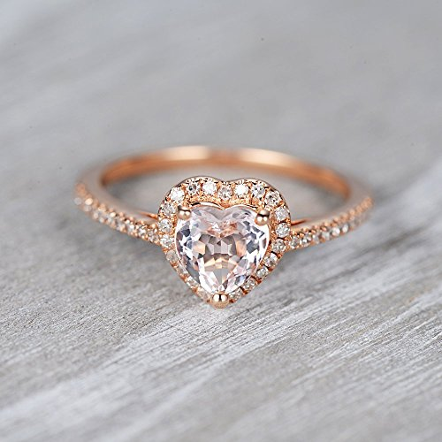 Heart Morganite Engagement Ring 18k Rose Gold Morganite and Diamond Ring Halo Diamond Ring Diamond Half Eternity Ring