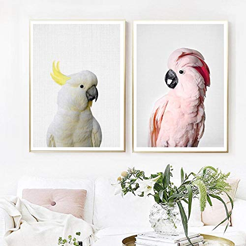 qiumeixia1 Pink Cockatoo Bird Art Canvas Painting Wall Pictures, Animal Parrot Photography Canvas Art Prints and Poster Home Room Decor 5070